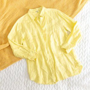 Symple NYC •Yellow 100% Linen Button Down Top